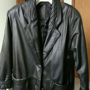 Ladies small long black leather dress coat